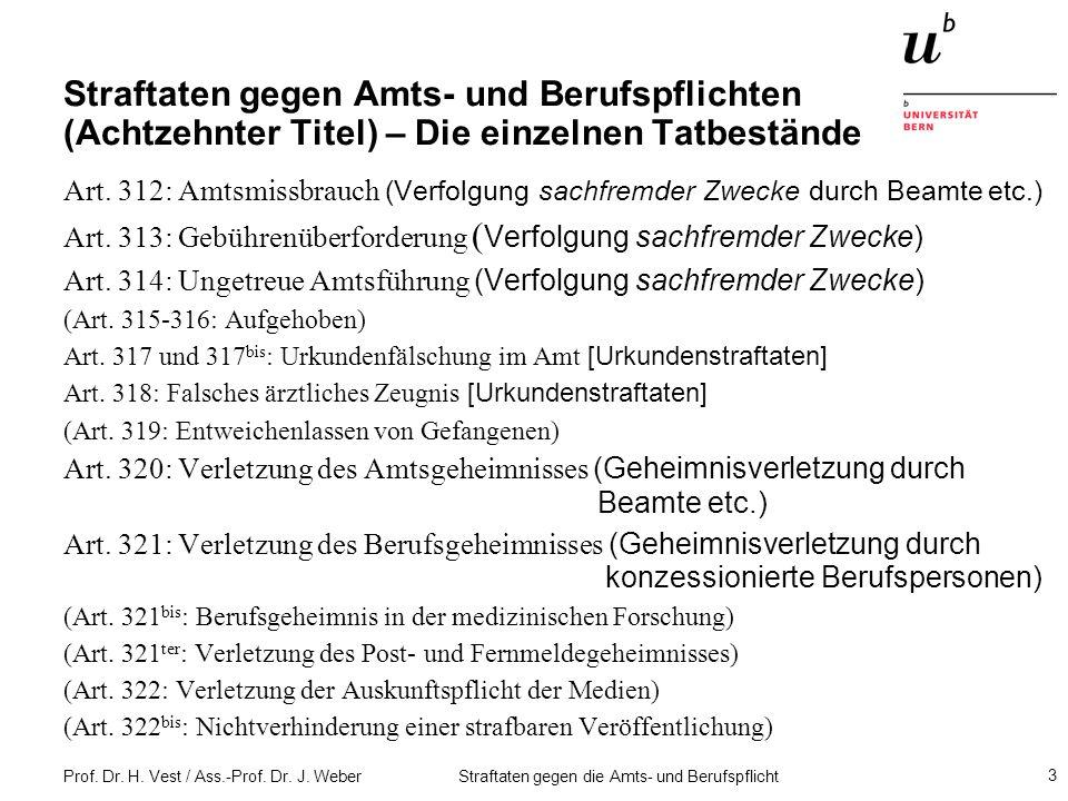 Straftaten gegen Amts- und Berufspflichten (Achtzehnter Titel) – Die einzelnen Tatbestände