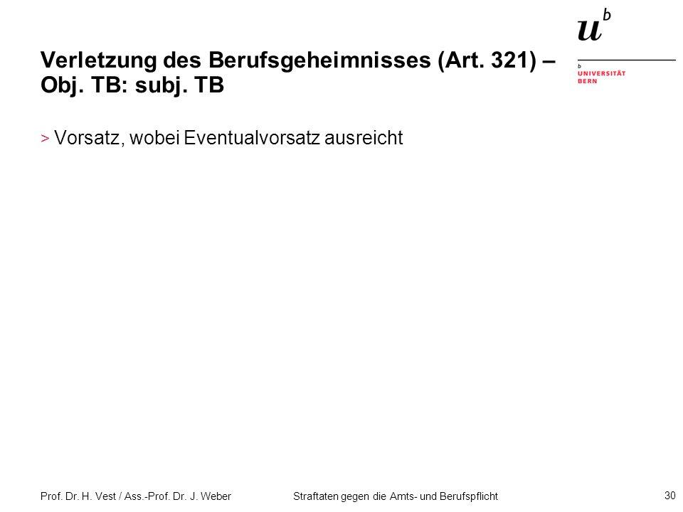 Verletzung des Berufsgeheimnisses (Art. 321) – Obj. TB: subj. TB