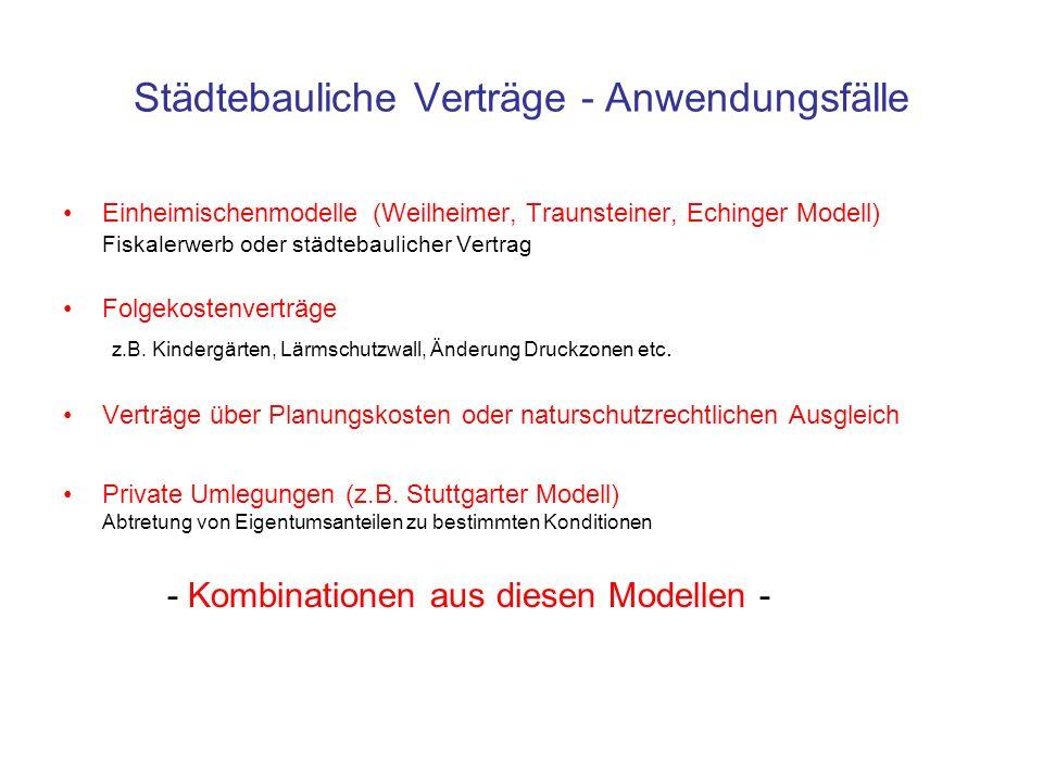 Städtebauliche Verträge - Anwendungsfälle
