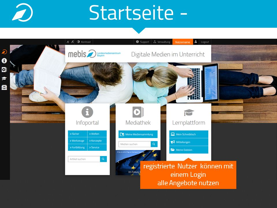 registrierte Nutzer können mit einem Login alle Angebote nutzen