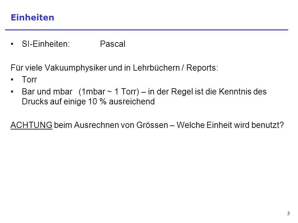 Einheiten SI-Einheiten: Pascal. Für viele Vakuumphysiker und in Lehrbüchern / Reports: Torr.