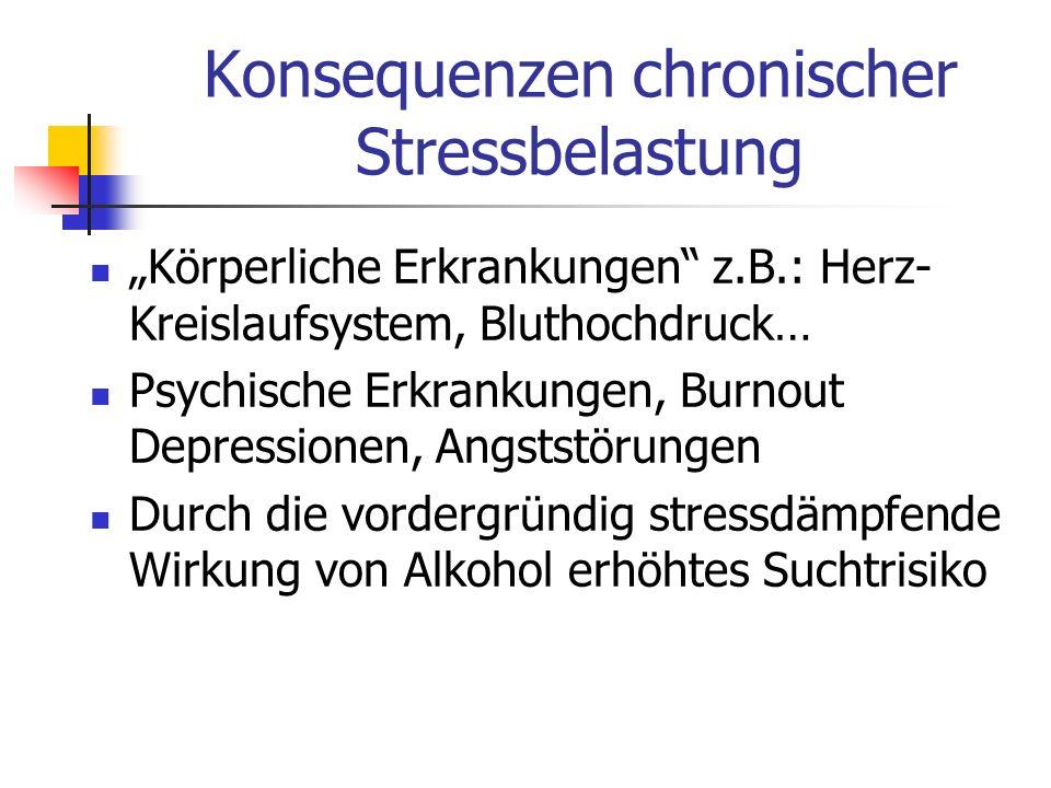 Konsequenzen chronischer Stressbelastung