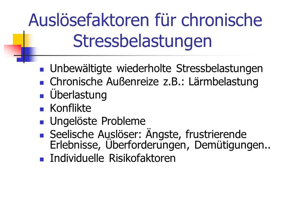 Auslösefaktoren für chronische Stressbelastungen