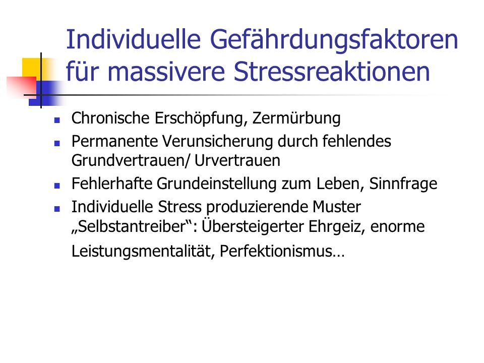 Individuelle Gefährdungsfaktoren für massivere Stressreaktionen