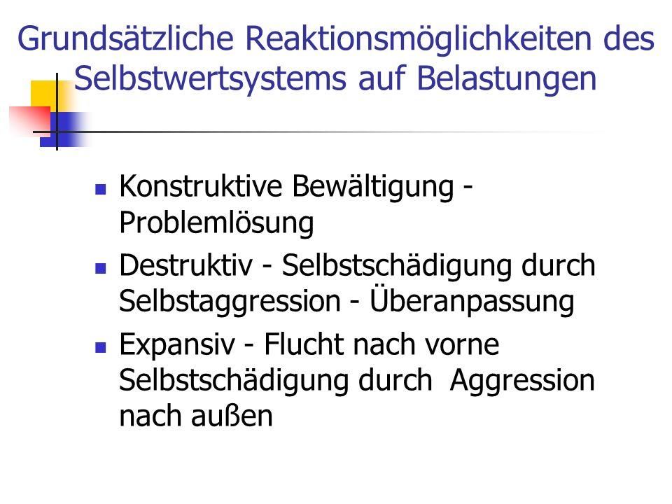 Grundsätzliche Reaktionsmöglichkeiten des Selbstwertsystems auf Belastungen