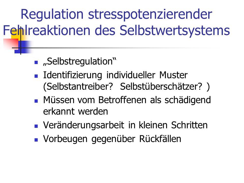 Regulation stresspotenzierender Fehlreaktionen des Selbstwertsystems