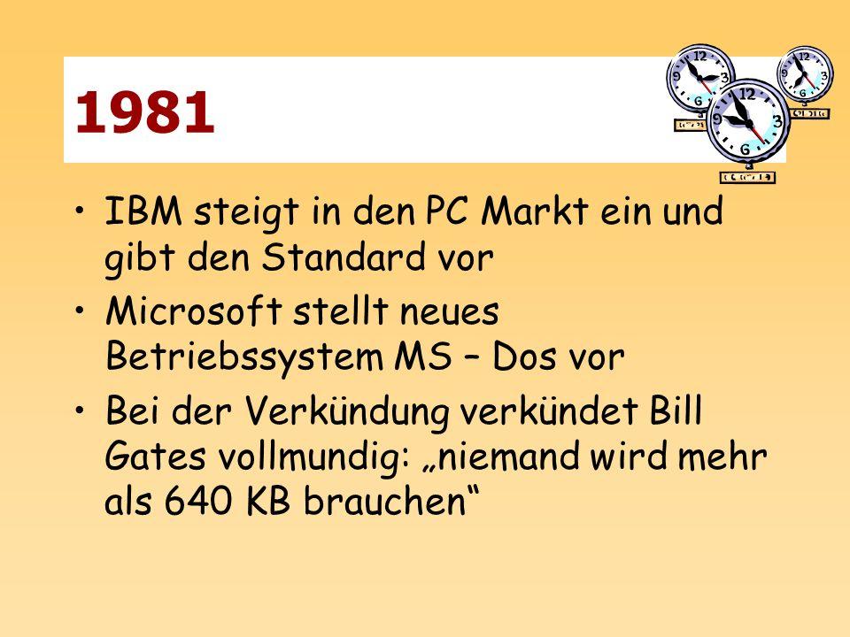 1981 IBM steigt in den PC Markt ein und gibt den Standard vor