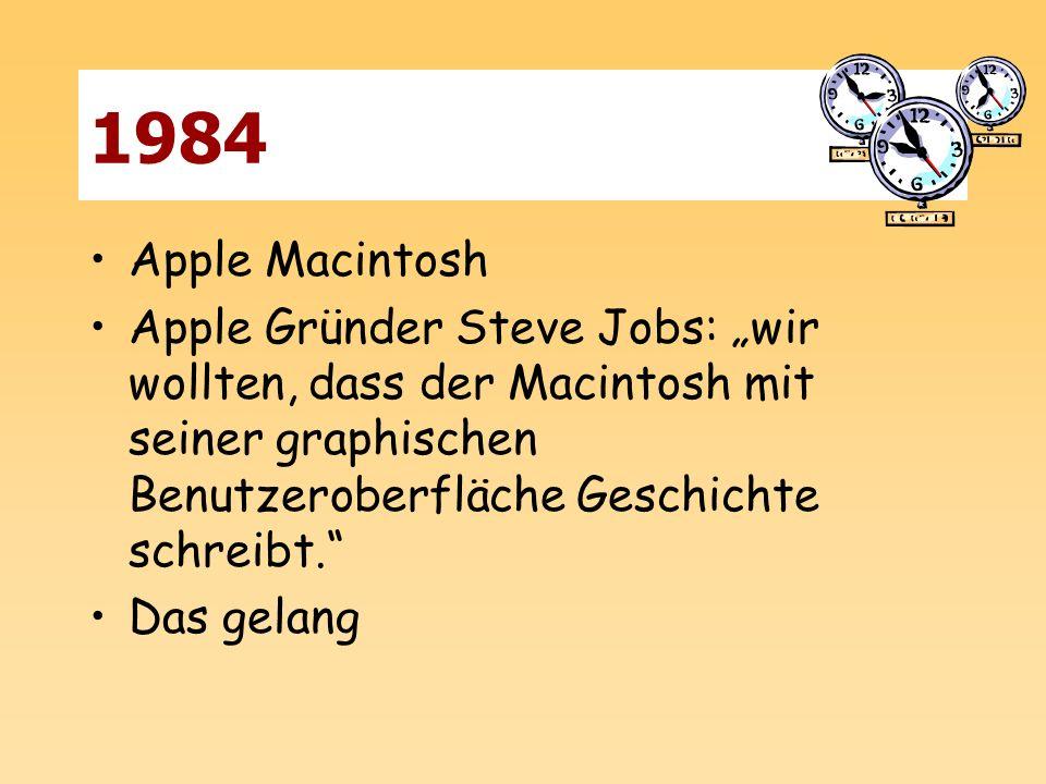 """1984 Apple Macintosh. Apple Gründer Steve Jobs: """"wir wollten, dass der Macintosh mit seiner graphischen Benutzeroberfläche Geschichte schreibt."""