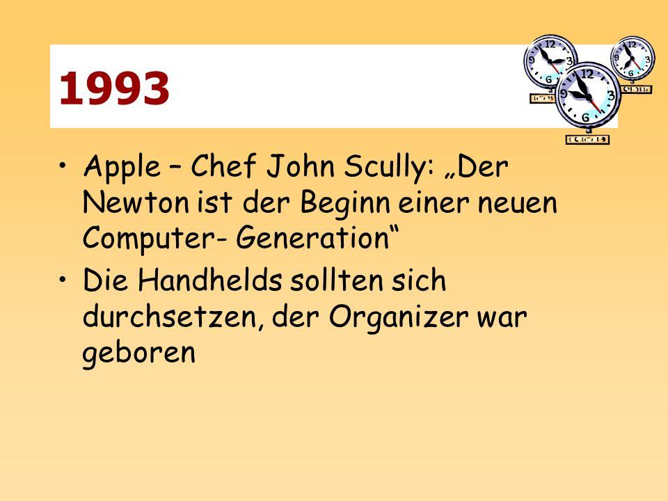 """1993 Apple – Chef John Scully: """"Der Newton ist der Beginn einer neuen Computer- Generation"""