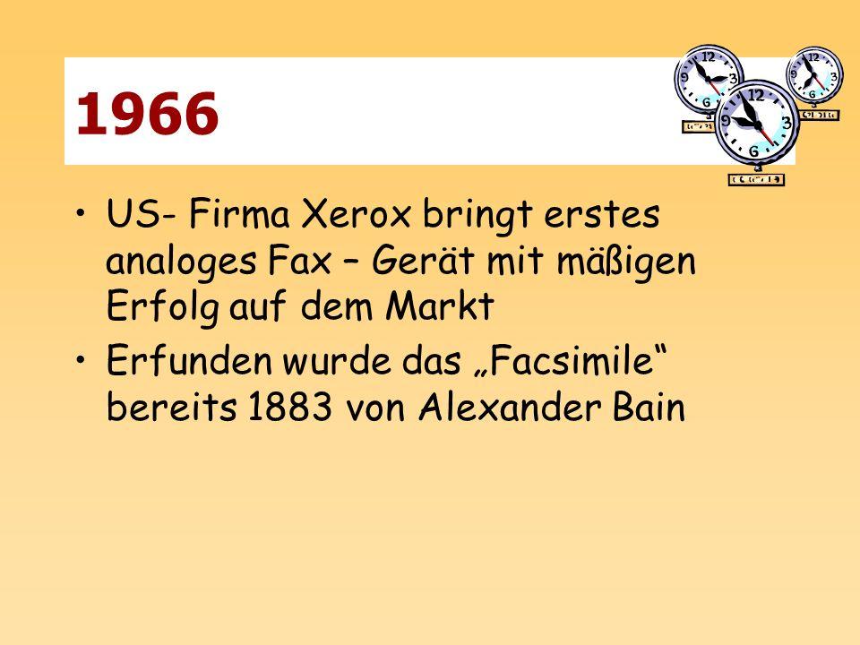 1966 US- Firma Xerox bringt erstes analoges Fax – Gerät mit mäßigen Erfolg auf dem Markt.