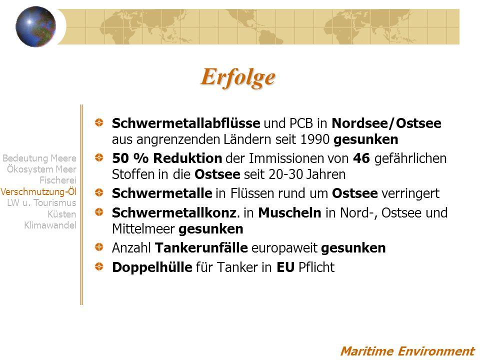 Erfolge Schwermetallabflüsse und PCB in Nordsee/Ostsee aus angrenzenden Ländern seit 1990 gesunken.