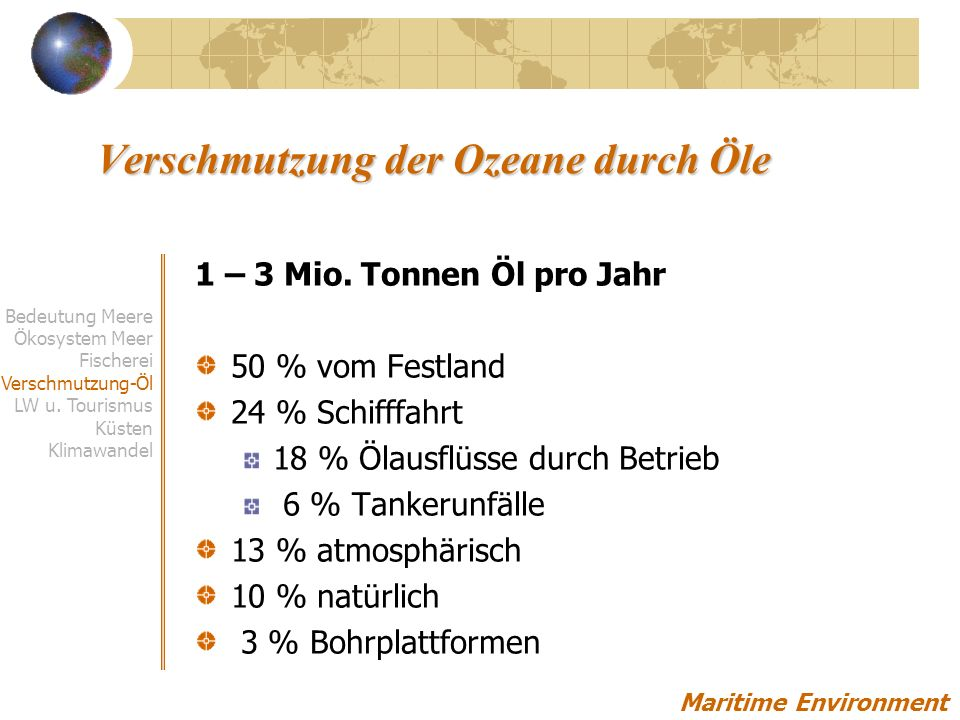 Verschmutzung der Ozeane durch Öle