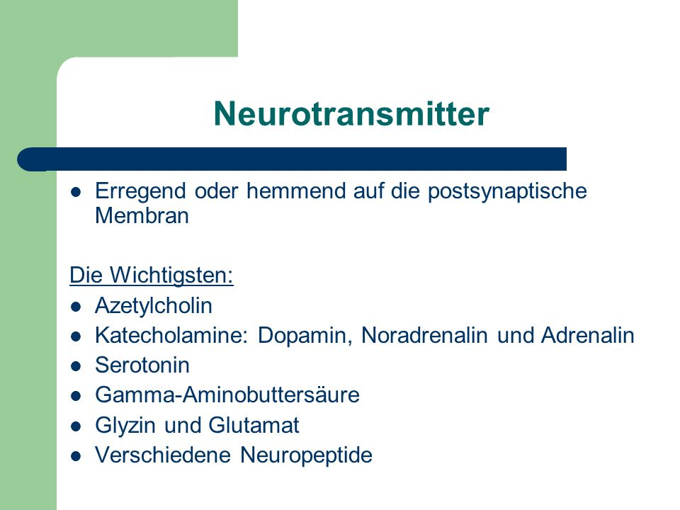 Neurotransmitter Erregend oder hemmend auf die postsynaptische Membran