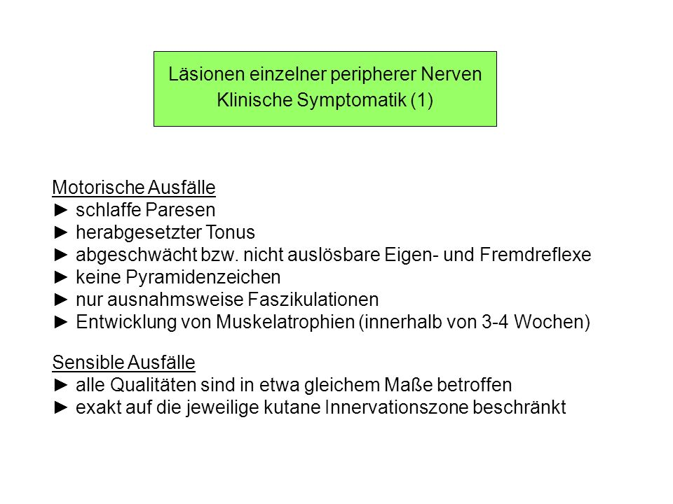 Läsionen einzelner peripherer Nerven Klinische Symptomatik (1)