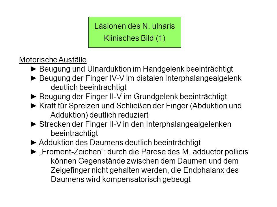 Läsionen des N. ulnaris Klinisches Bild (1) Motorische Ausfälle. ► Beugung und Ulnarduktion im Handgelenk beeinträchtigt.