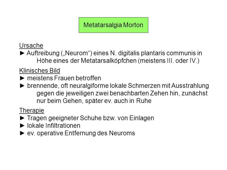"""Metatarsalgia MortonUrsache. ► Auftreibung (""""Neurom ) eines N. digitalis plantaris communis in."""