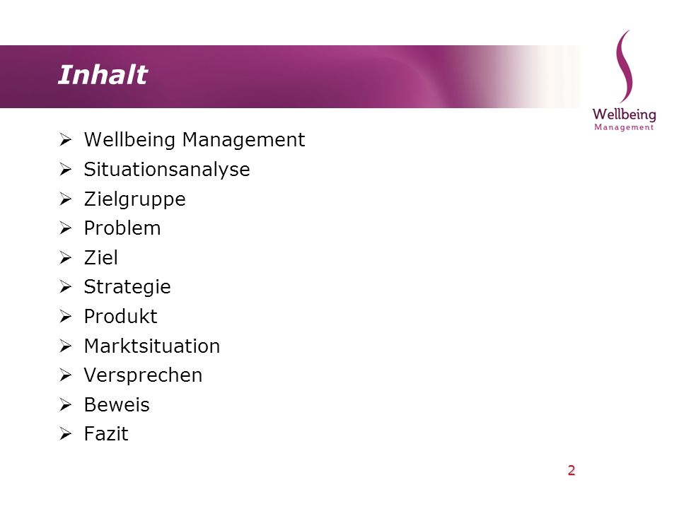 Inhalt Wellbeing Management Situationsanalyse Zielgruppe Problem Ziel