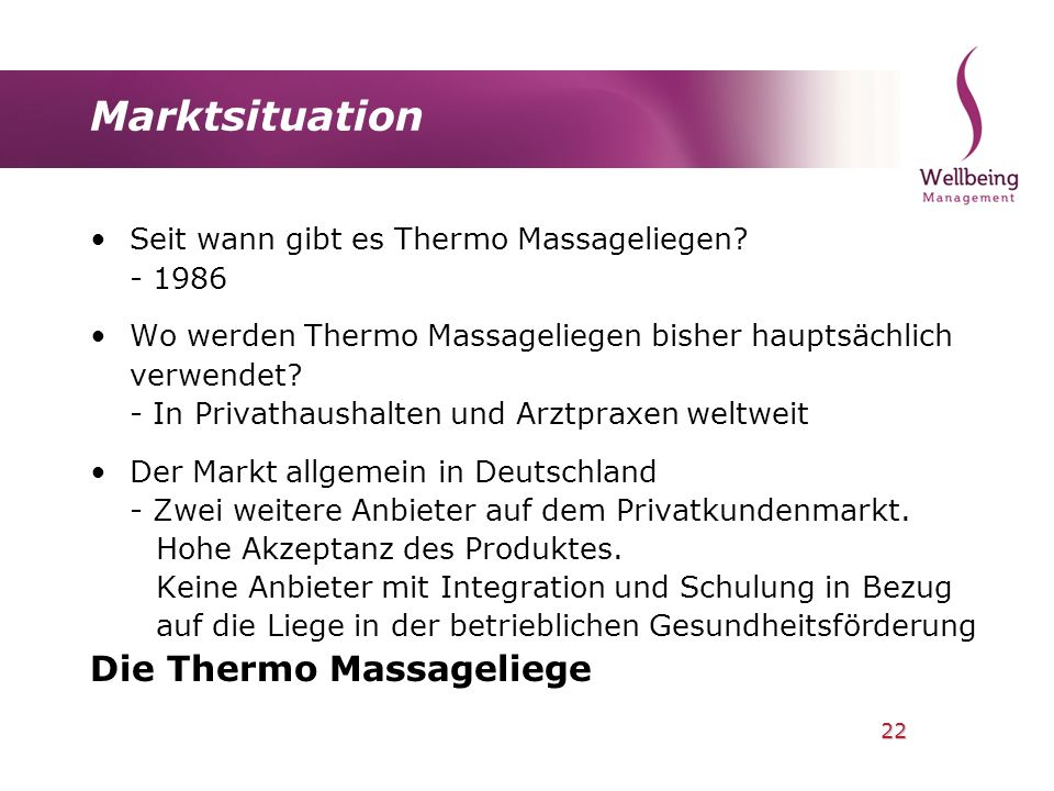 Marktsituation Die Thermo Massageliege