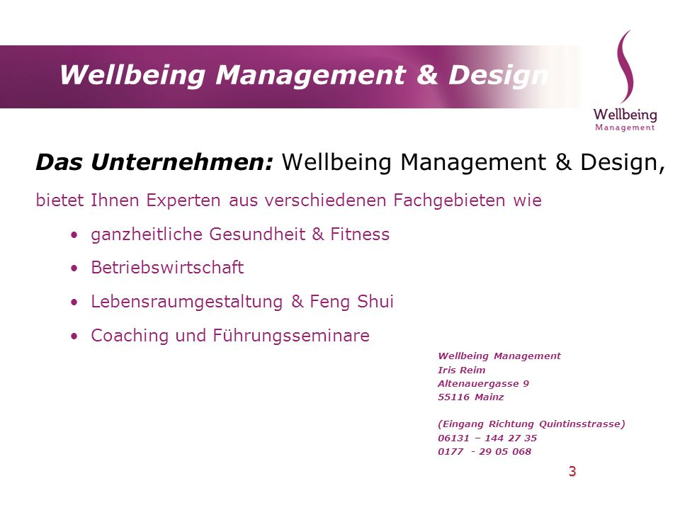 Wellbeing Management & Design