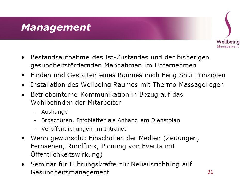 Management Bestandsaufnahme des Ist-Zustandes und der bisherigen gesundheitsfördernden Maßnahmen im Unternehmen.