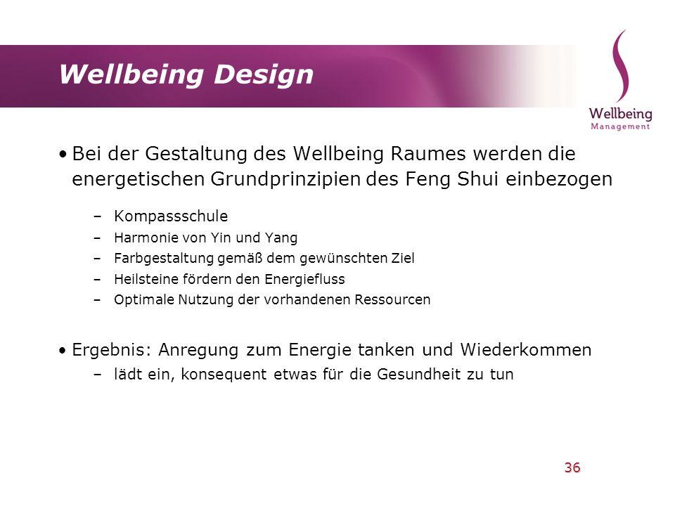 Wellbeing Design Bei der Gestaltung des Wellbeing Raumes werden die energetischen Grundprinzipien des Feng Shui einbezogen.