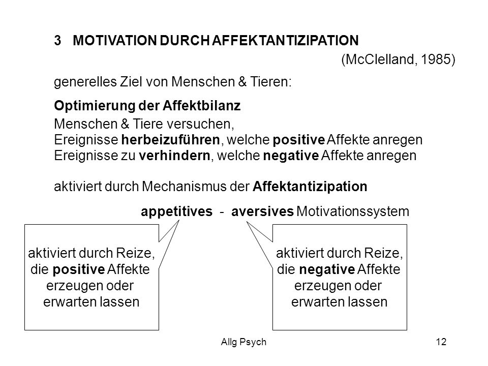 3 MOTIVATION DURCH AFFEKTANTIZIPATION (McClelland, 1985)