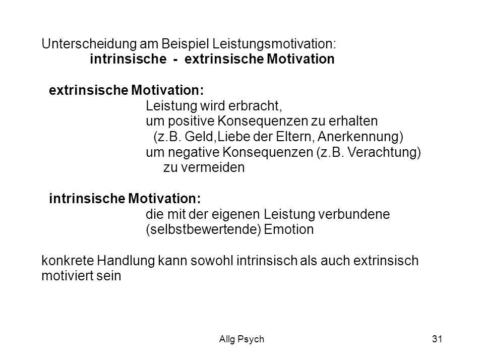 Unterscheidung am Beispiel Leistungsmotivation: