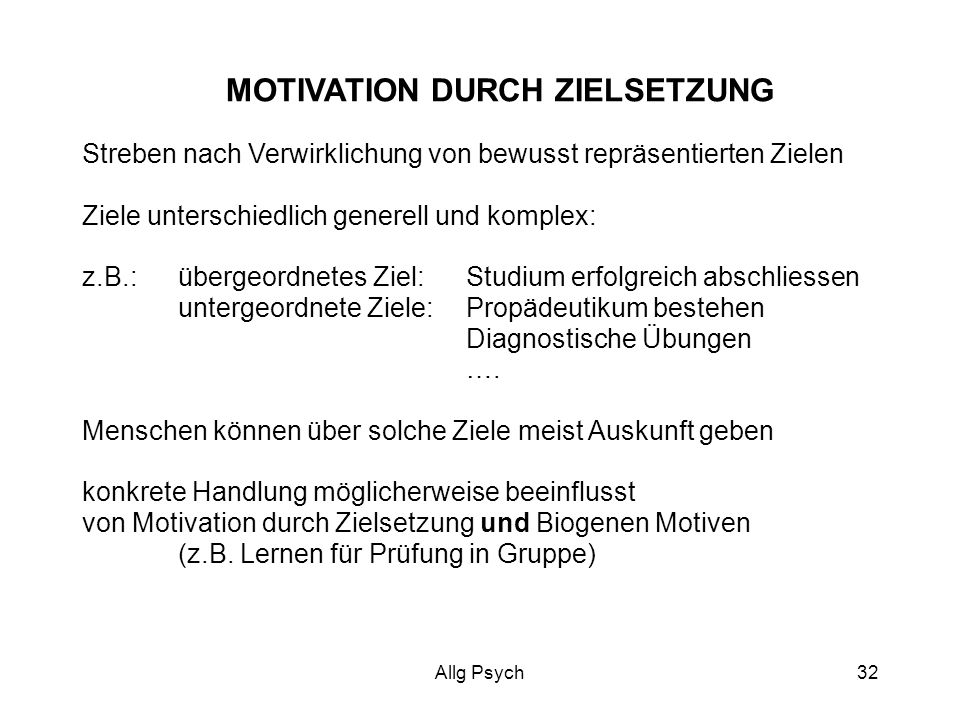 MOTIVATION DURCH ZIELSETZUNG