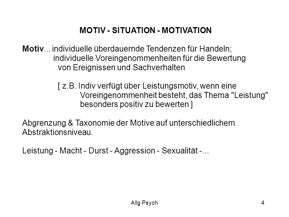 MOTIV - SITUATION - MOTIVATION