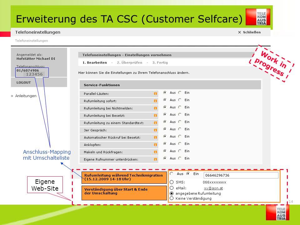 Erweiterung des TA CSC (Customer Selfcare)