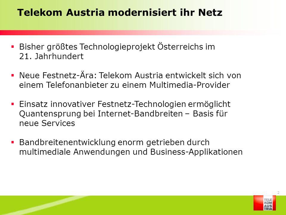Telekom Austria modernisiert ihr Netz
