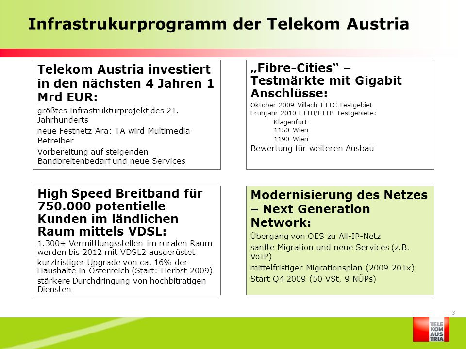 Infrastrukurprogramm der Telekom Austria