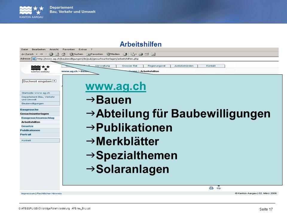 Abteilung für Baubewilligungen Publikationen Merkblätter Spezialthemen