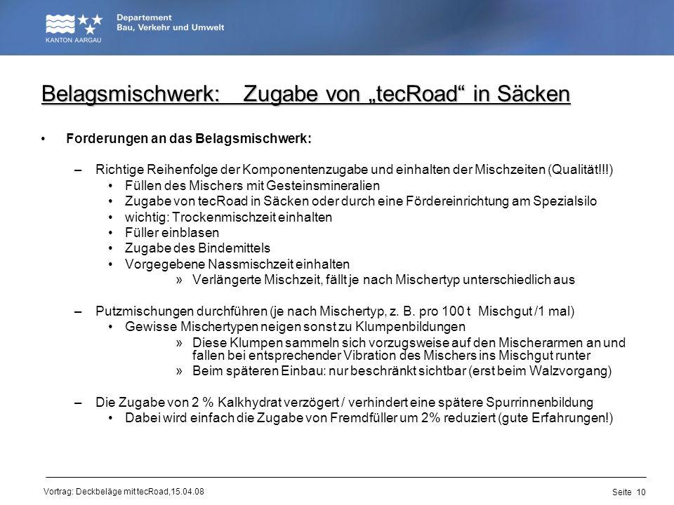 """Belagsmischwerk: Zugabe von """"tecRoad in Säcken"""
