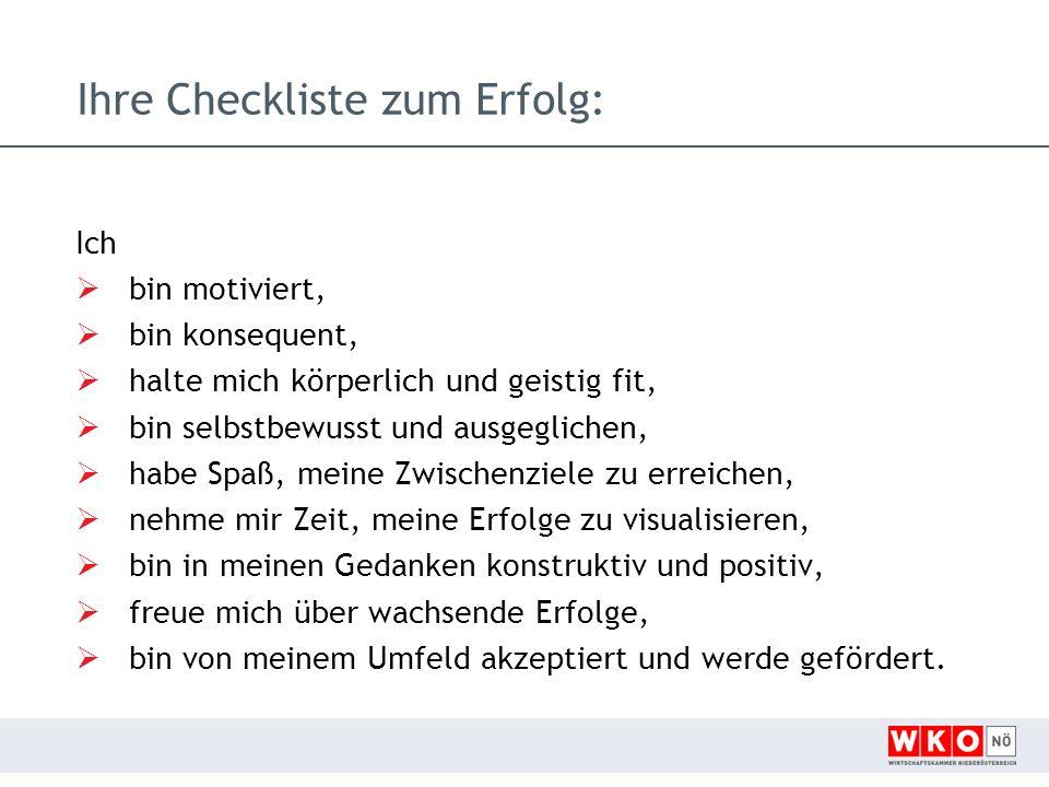 Ihre Checkliste zum Erfolg: