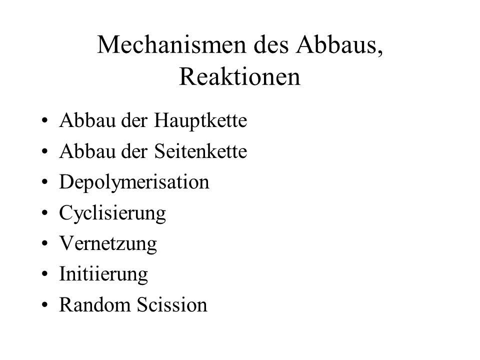 Mechanismen des Abbaus, Reaktionen