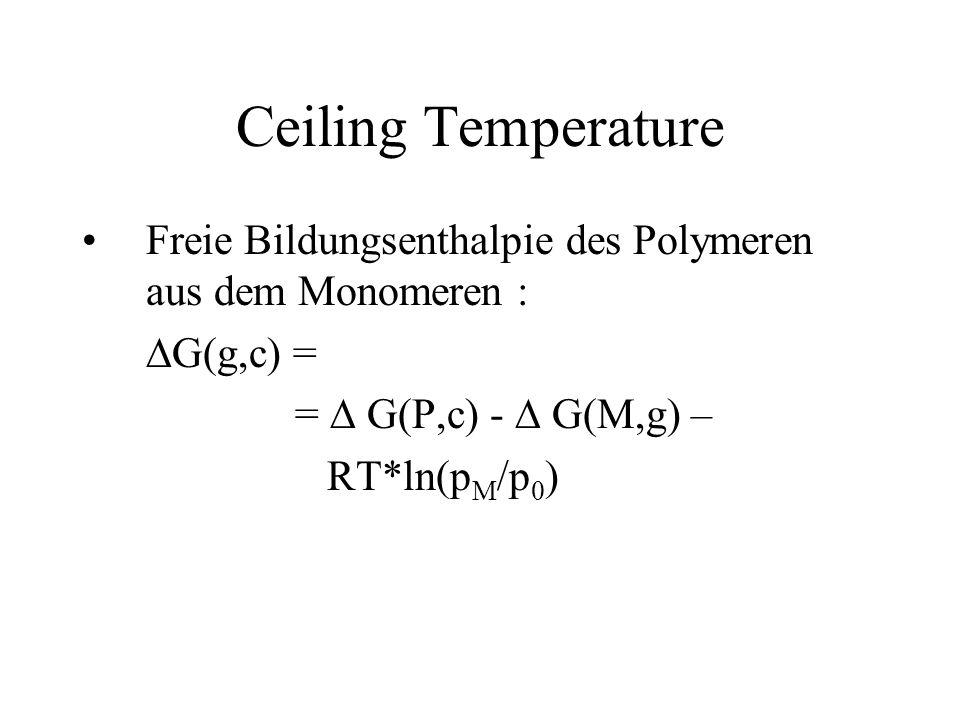 Ceiling Temperature Freie Bildungsenthalpie des Polymeren aus dem Monomeren : DG(g,c) = = D G(P,c) - D G(M,g) –