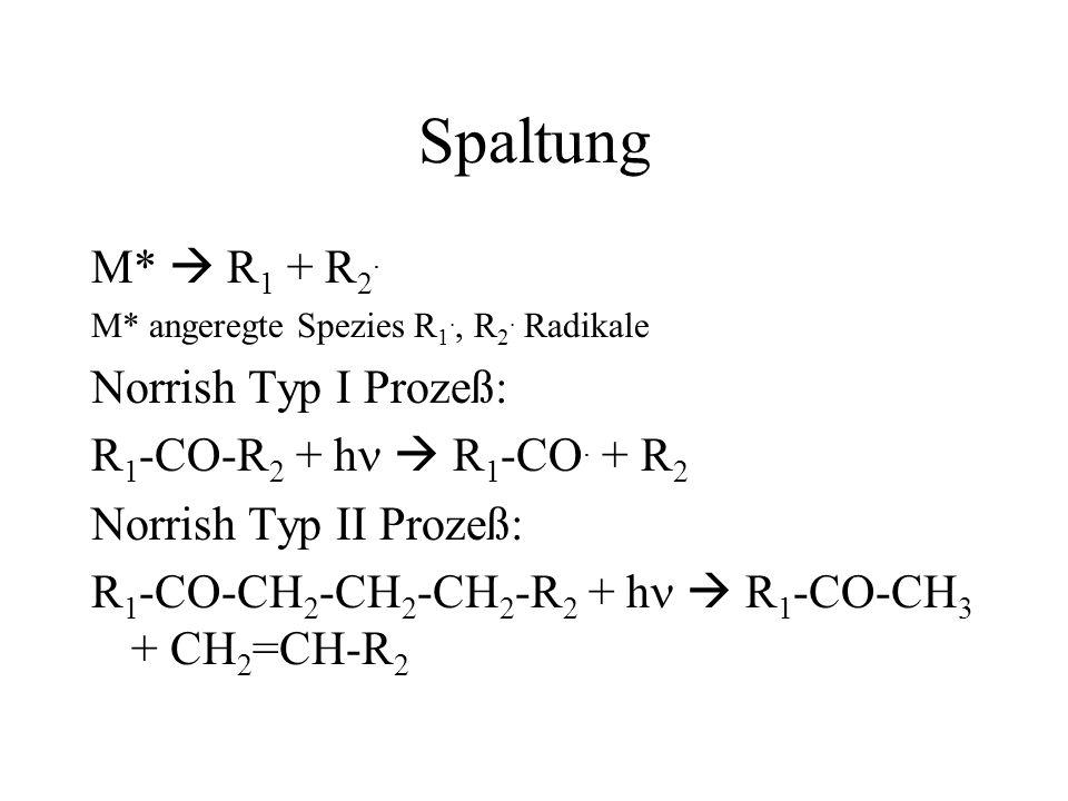 Spaltung M*  R1 + R2. Norrish Typ I Prozeß: