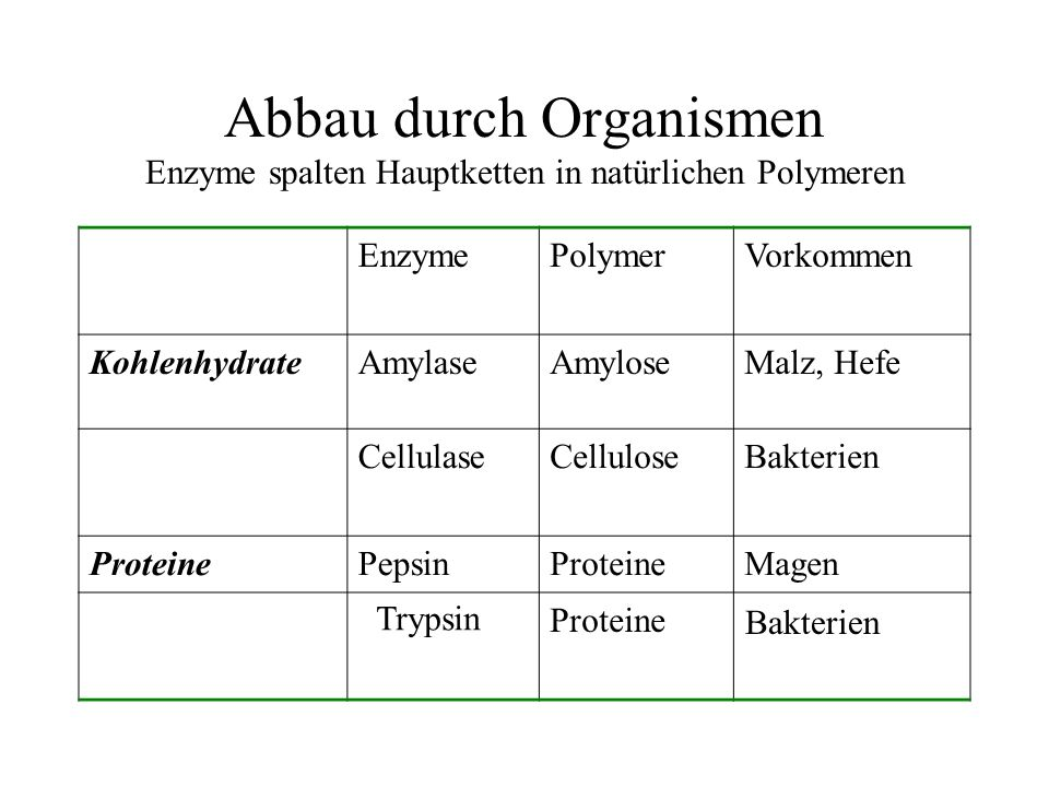 Abbau durch Organismen Enzyme spalten Hauptketten in natürlichen Polymeren