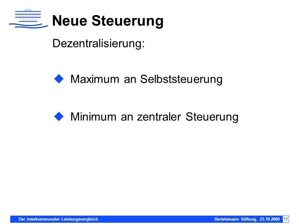 Neue Steuerung Dezentralisierung: Maximum an Selbststeuerung