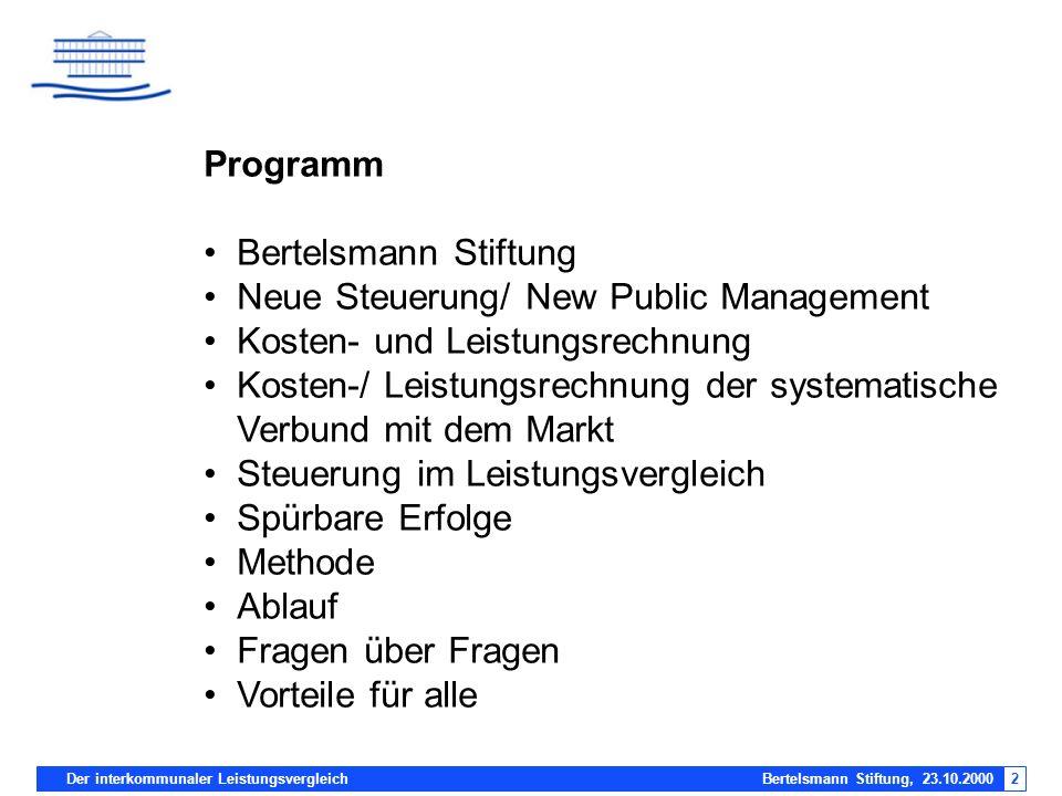Programm Bertelsmann Stiftung. Neue Steuerung/ New Public Management. Kosten- und Leistungsrechnung.