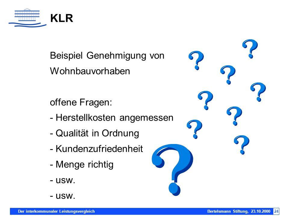 KLR Beispiel Genehmigung von Wohnbauvorhaben offene Fragen: