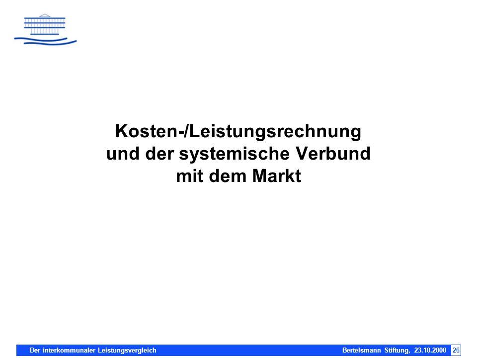 Kosten-/Leistungsrechnung und der systemische Verbund mit dem Markt