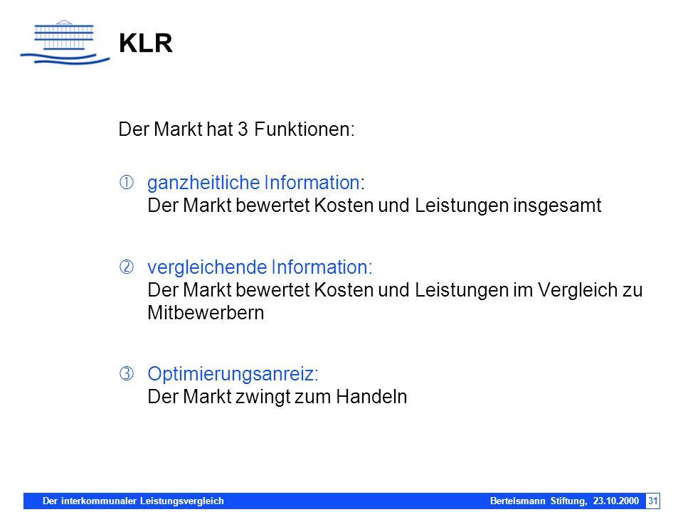 KLR Der Markt hat 3 Funktionen: