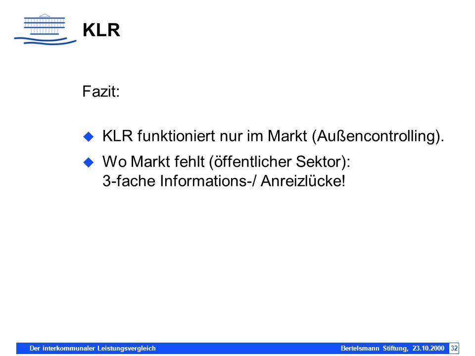 KLR Fazit: KLR funktioniert nur im Markt (Außencontrolling).