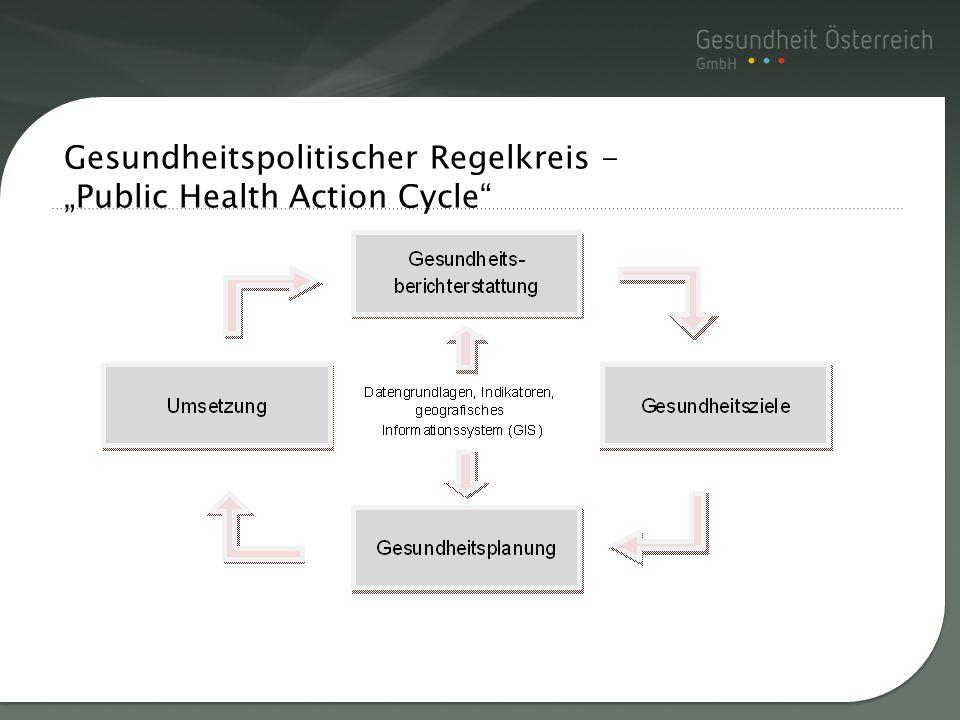 """Gesundheitspolitischer Regelkreis - """"Public Health Action Cycle"""