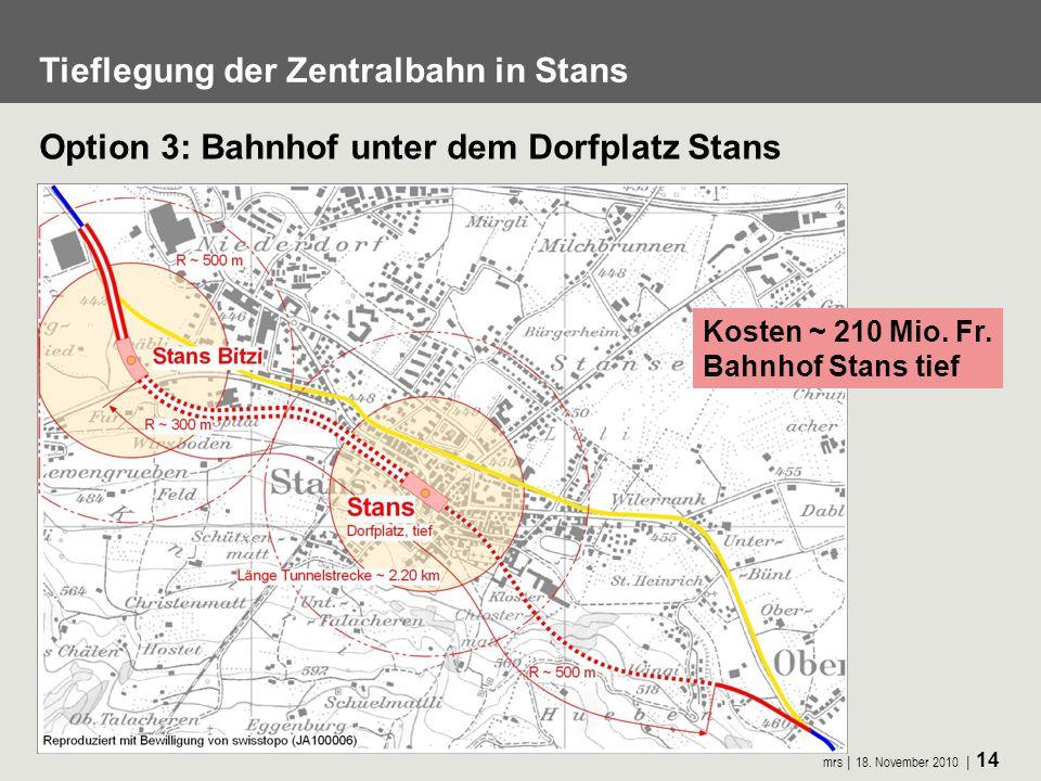 Tieflegung der Zentralbahn in Stans