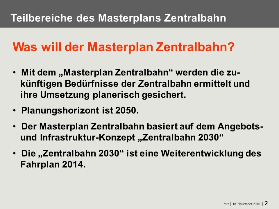 Was will der Masterplan Zentralbahn