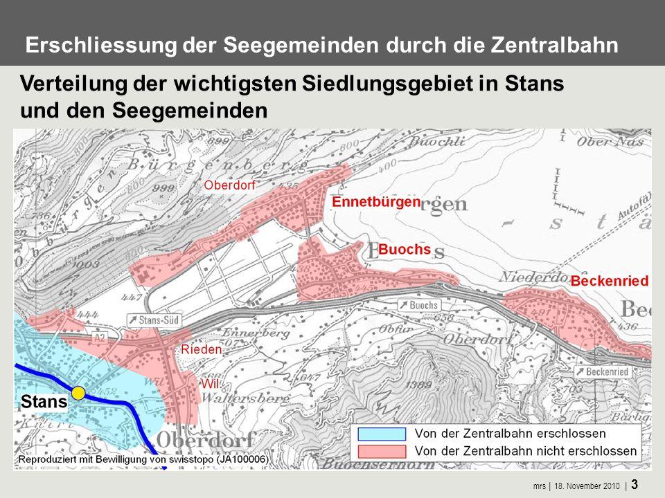 Erschliessung der Seegemeinden durch die Zentralbahn