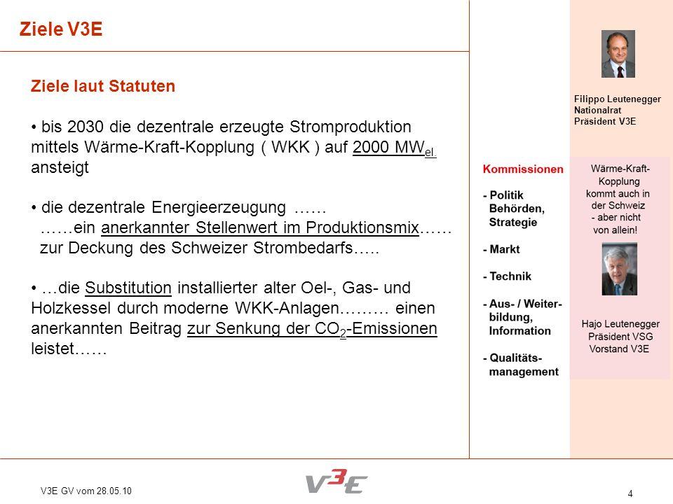 Ziele V3E Ziele laut Statuten